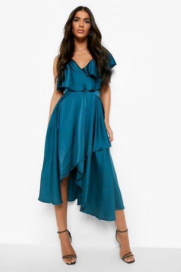 Teal Satin Ruffle Wrap Detail Skater Dress