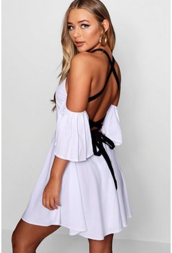Womens White Flo Cold Shoulder Strappy Back Skater Dress