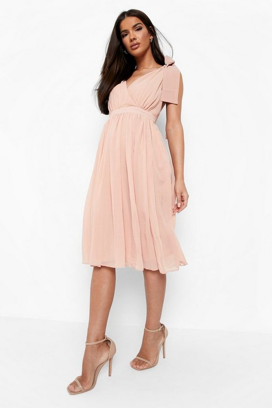 Womens Blush Chiffon Pleated Back Midi Skater Dress