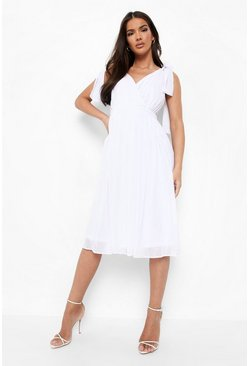 Womens Ivory Chiffon Pleated Back Midi Skater Dress