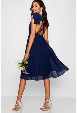 Navy Chiffon Pleated Back Midi Skater Dress