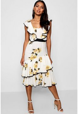 Womens White Larisa Floral Ruffle Detail Midi Dress