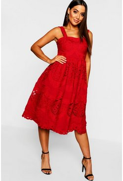 Womens Red Embroidered Square Neck Midi Skater Dress