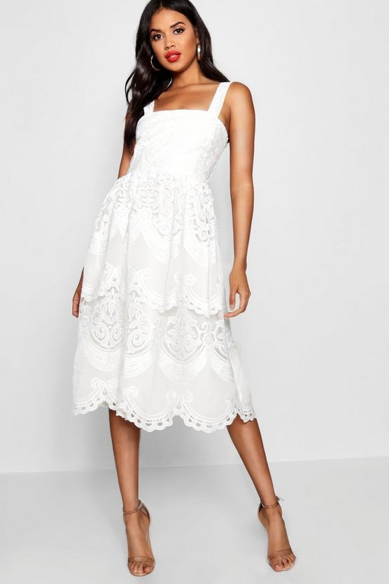 Embroidered Square Neck Midi Skater Dress