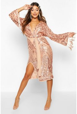 Dam Gold Sequin and Tassel Kimono Sleeve Midi Dress