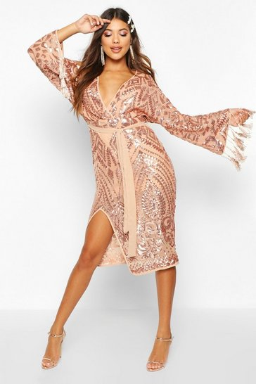 Womens Gold Sequin and Tassel Kimono Sleeve Midi Dress