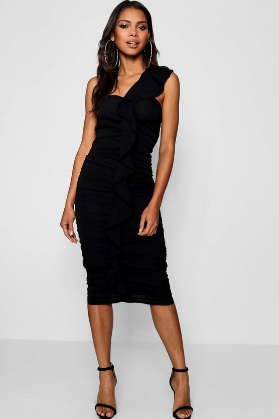 Womens Ruffle One Shoulder Midi Dress