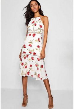 Womens White Floral Print panelled Ruffle Hem Midi Dress