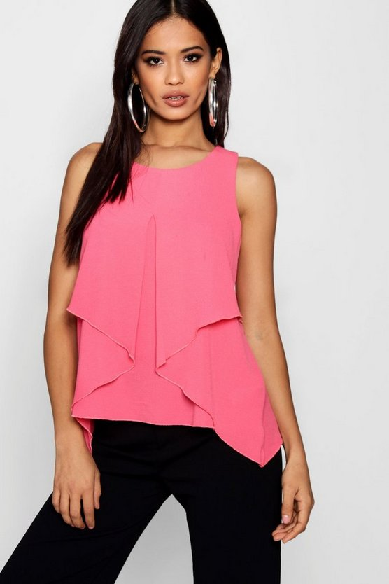Sleeveless Split Front Double Layer Blouse