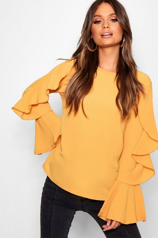Womens Mustard Ruffle Sleeve Blouse