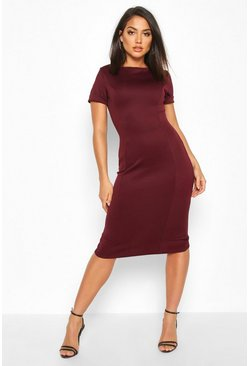 Berry Roll Sleeve Midi Dress