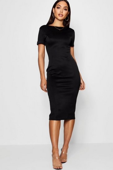 Womens Black Roll Sleeve Midi Dress