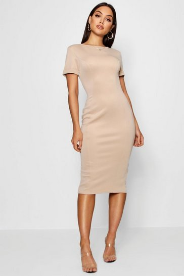 Womens Stone Roll Sleeve Midi Dress