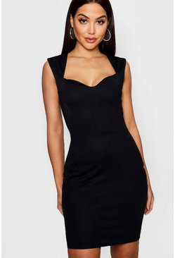 Womens Black Sweet Heart Neckline Midi Dress