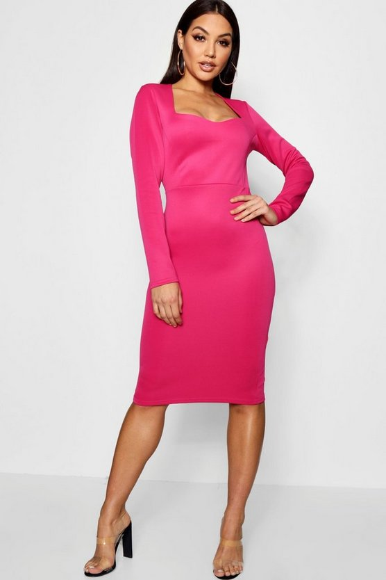 Sweet Heart Neck Midi Dress