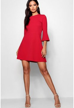 Womens Red Flute Sleeve Skater Dress
