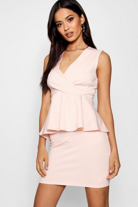 Sleeveless Peplum Wrap Top