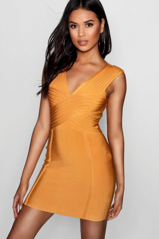 Sara Bandage Plunge Cut Out Bodycon Dress Sara Bandage Plunge Cut Out Bodycon Dress by Boohoo
