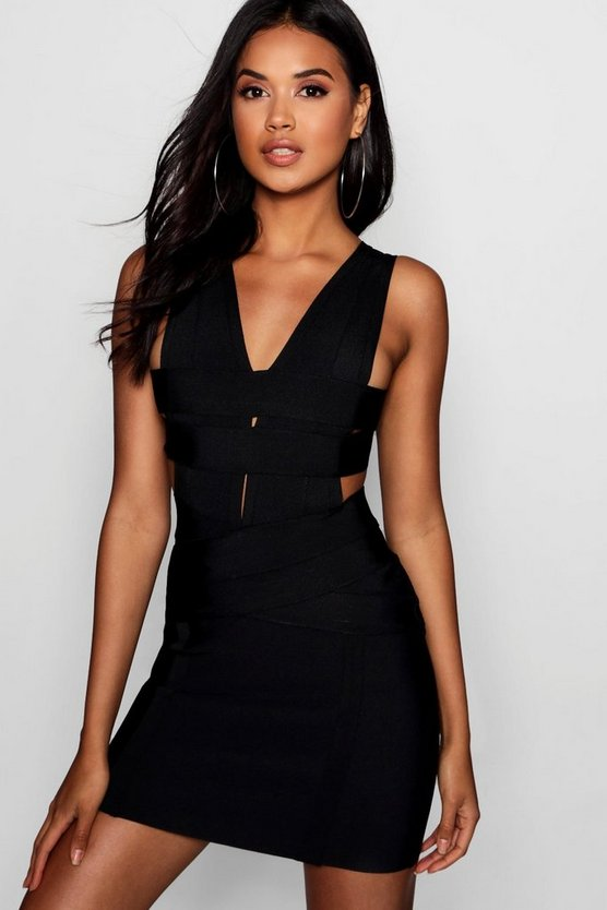 Womens Black Elle Bandage Cut Out Panelled Bodycon Dress