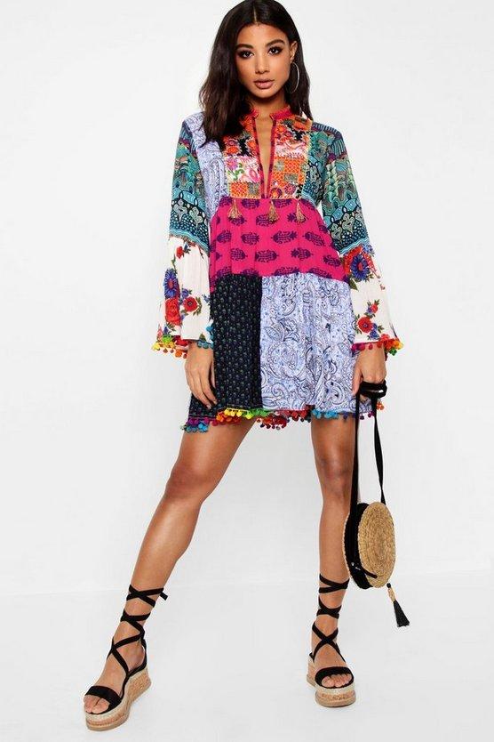 Patchwork Print Tassel Detail Smock Dress