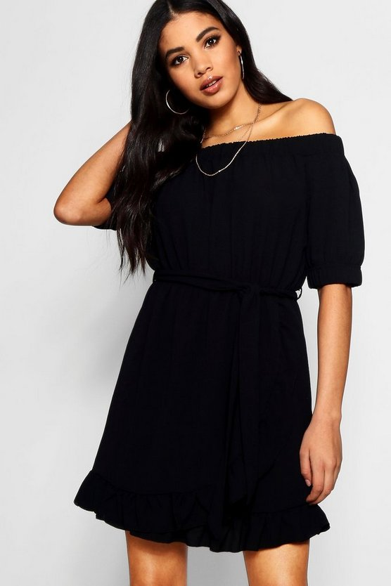Off The Shoulder Ruffle Hem Shift Dress