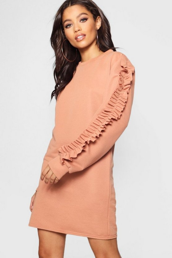 Tonal Ruffle Sleeve Sweat Dress