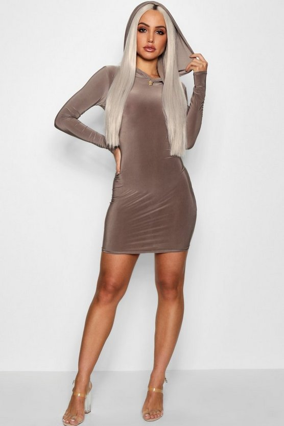 Hooded Slinky Mini Dress
