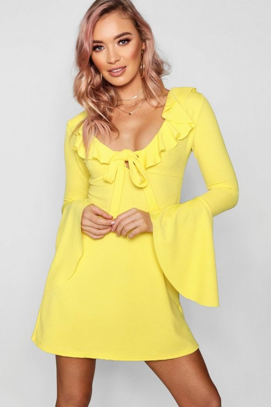 Womens Lemon Knot Front Flared Sleeve Tea Dress