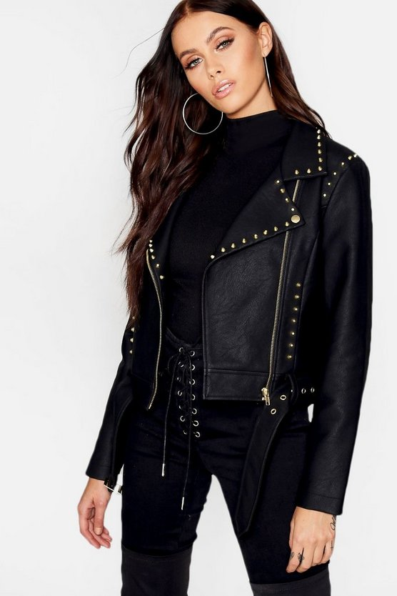 Womens Black Belted Studded Biker Jacket