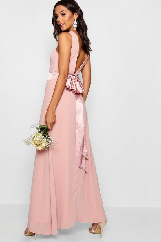 Womens Blush Cara Bow Back Maxi Dress