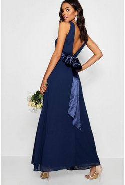 Womens Navy Cara Bow Back Maxi Dress