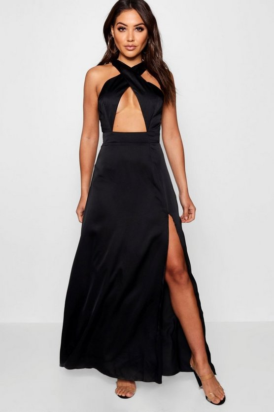 Jen Satin Cross Front Thigh Split Maxi Dress