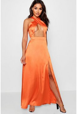 Womens Orange Jen Satin Cross Front Thigh Split Maxi Dress