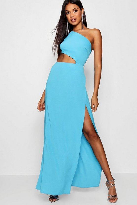 One Shoulder Belted Maxi Dress