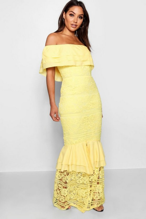 Womens Lace Off The Shoulder Maxi Dress