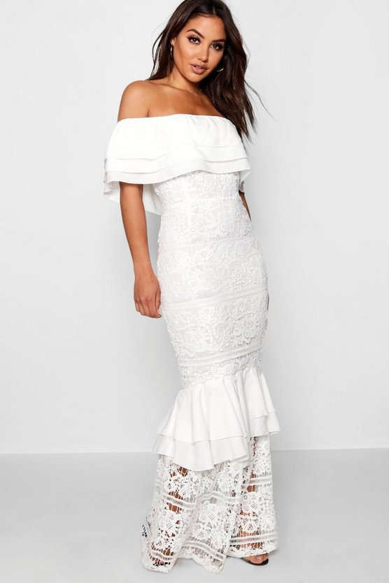 Lace Off The Shoulder Maxi Dress
