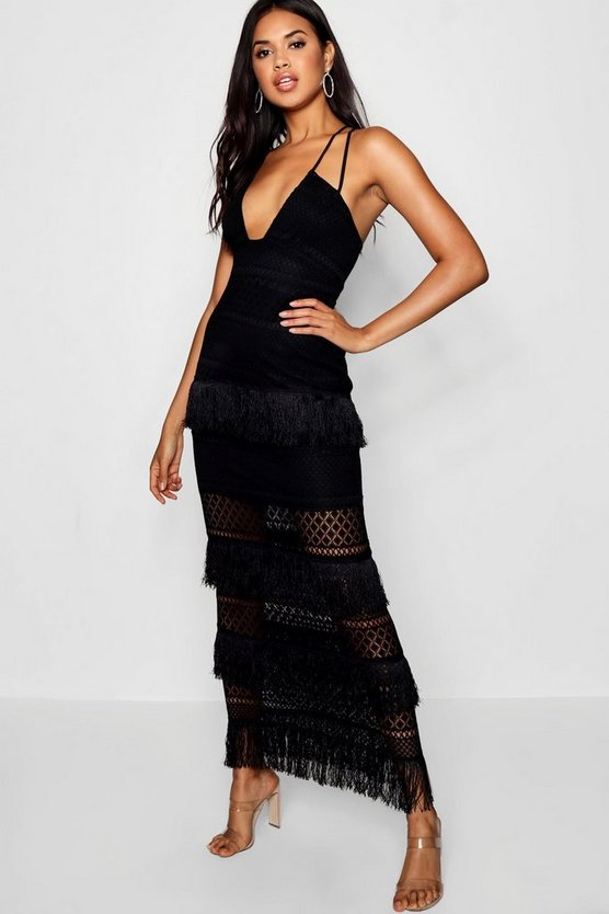 Womens Black Zoe Lace & Tassel Maxi Dress