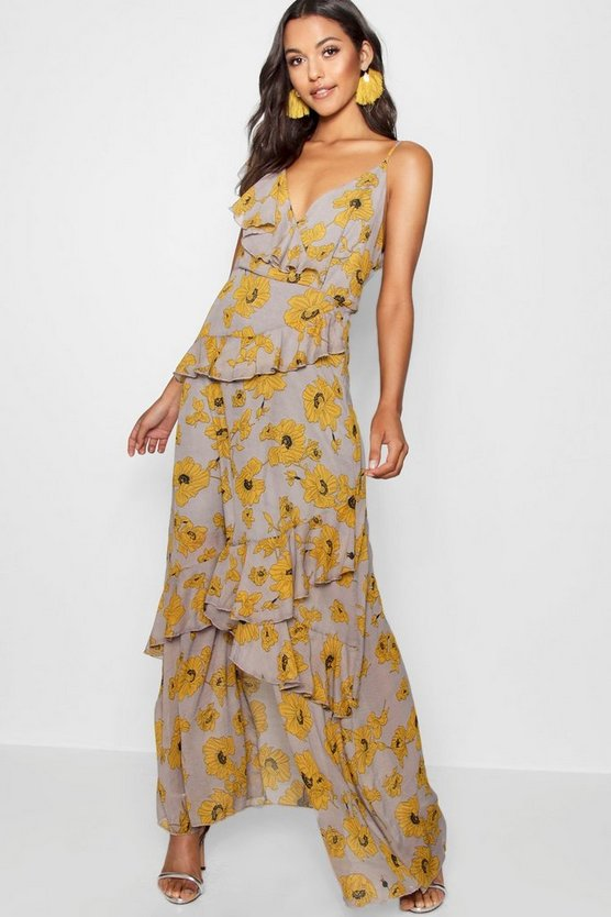Yellow Floral Ruffle Detail Maxi Dress
