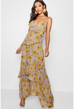 Womens Yellow Floral Ruffle Detail Maxi Dress