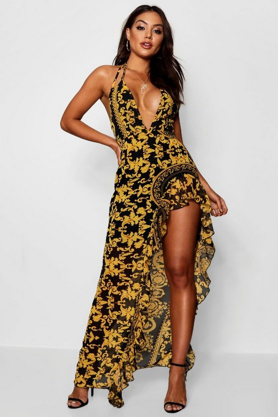 Baroque Print Ruffle Maxi Dress