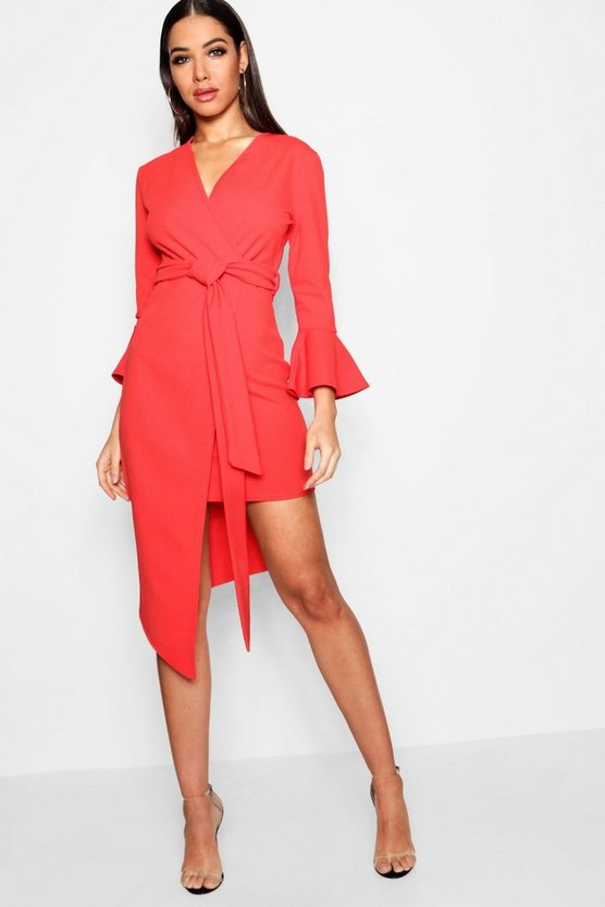Asymmetric Belted Midi Dress