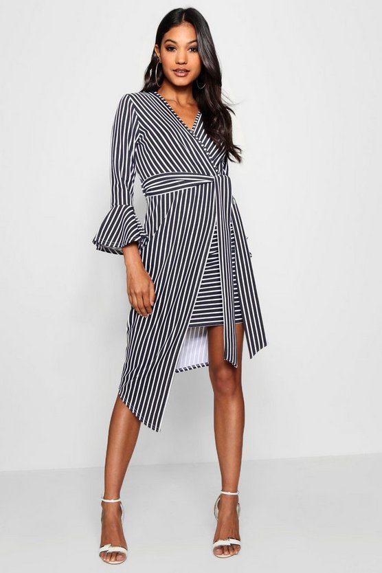 Asymmetric Stripe Belted Midi Dress