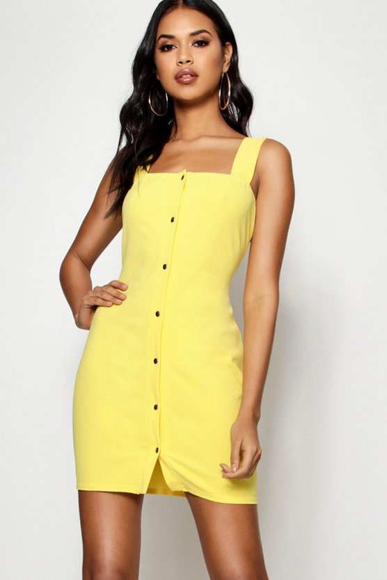 Lemon Popper Front Square Neck Bodycon Dress