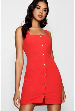 Womens Tomato Popper Front Square Neck Bodycon Dress