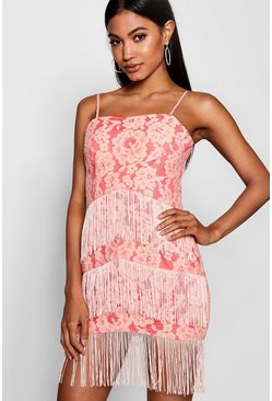 Womens Pink Lace and Tassel Bodycon Dress