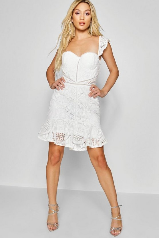 Womens Lace Panelled Ruffle Hem Mini Dress