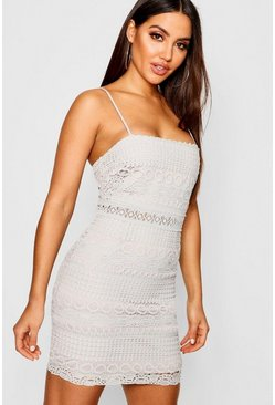 Womens Grey Lace Square Neck Bodycon Dress