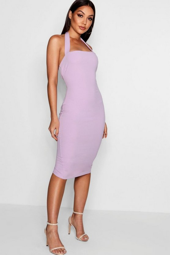Womens Halter Strap Midi Dress