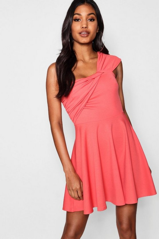 Large Bow One Shoulder Skater Dress