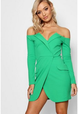 Womens Apple green Off the Shoulder Blazer Bodycon Dress